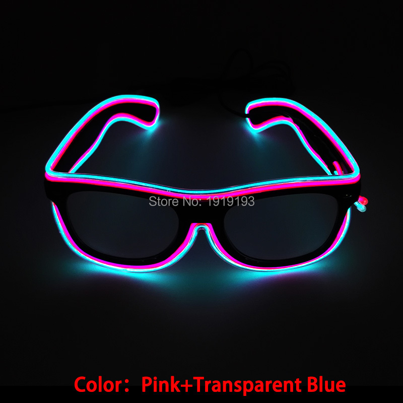 NEW Arrive Double Colorful EL Wire Neon LED Light Up Glowing Glasses as Gift with Trendy DJ Bright SunGlasses holiday lighting