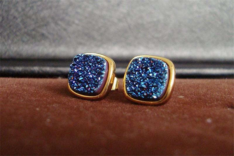 Brazil Hot Design Female Druzy Bijoux Gold Plated Round Blue Quart Natural Agate Druzy Earrings Fashion Stud Earrings for Women-6