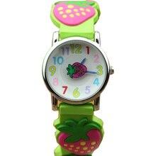 Crianças de moda 3D silicone quartzo dresswatch meninas Morango bonito dial adorável relógio de pulso à prova d' água