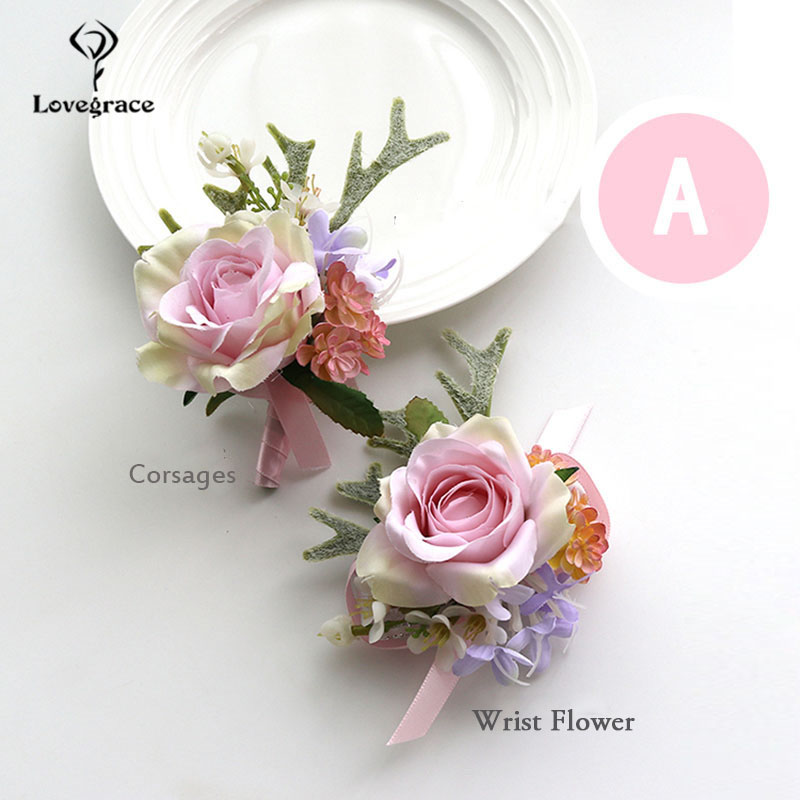 Wedding Accessories Boutonnieres Corsages Bracelets Bridesmaid Pink Silk Roses Groomsmen Buttonhole Marriage Cuff Wrist Corsages