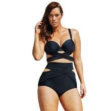 New high waist swimsuit Sexy halter string strappy bikini 2016 swimwear women cutout bathing suit Biquini