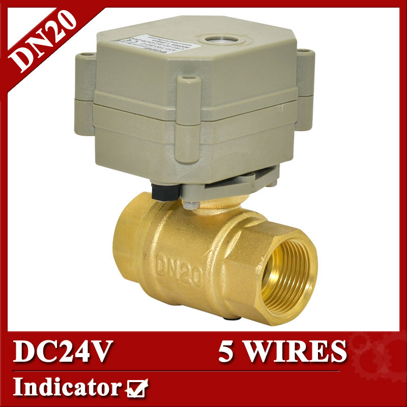 все цены на  3/4'' DC24V brass electric ball valve, DN 20 5 wires  2 way motorized ball valve 1.0Mpa,5sec on/off  with indicator  онлайн