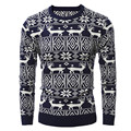 Euro Size 2017 Winter Pullover Men Christmas  Sweater Jumper V Neck Deer Pattern Slim Fit Knitted Christmas Sweaters Knitwear