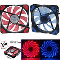 1 Pcs Red/Blue 15 LED Luz Muito 120mm DC 12 V PC Computer Case Cooler Fan Mod
