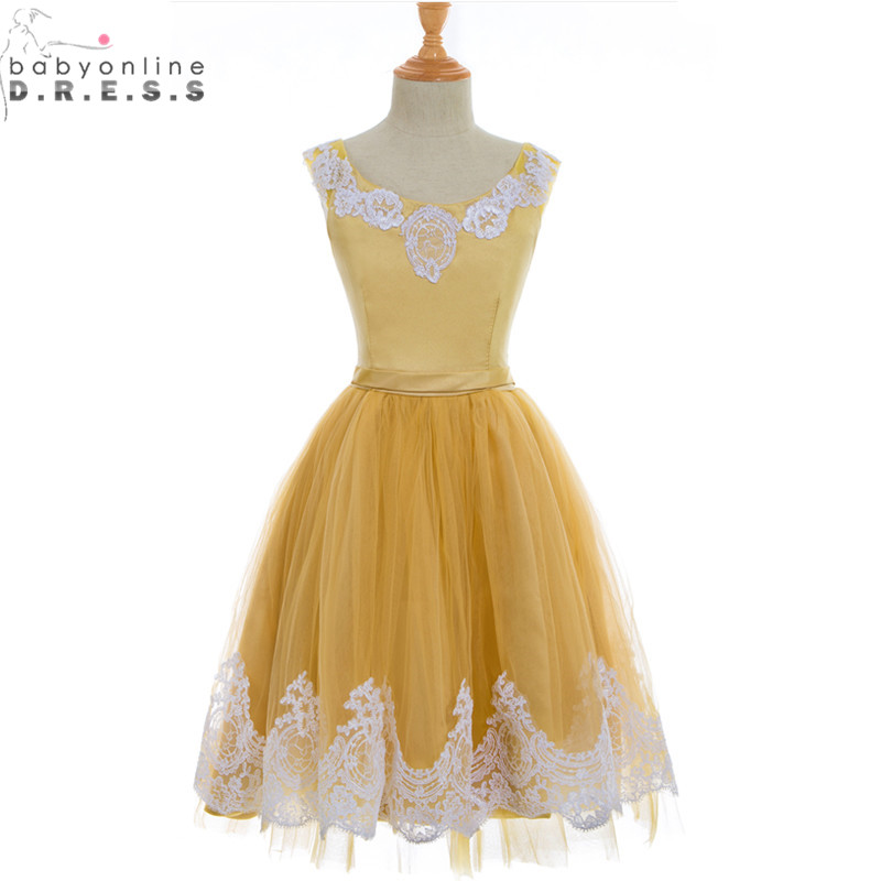 Vestidos de Primera Comunion Cheap Yellow Lace Appliques   Flower     Girl     Dresses   for Weddings First Communion   Dresses   for   Girls