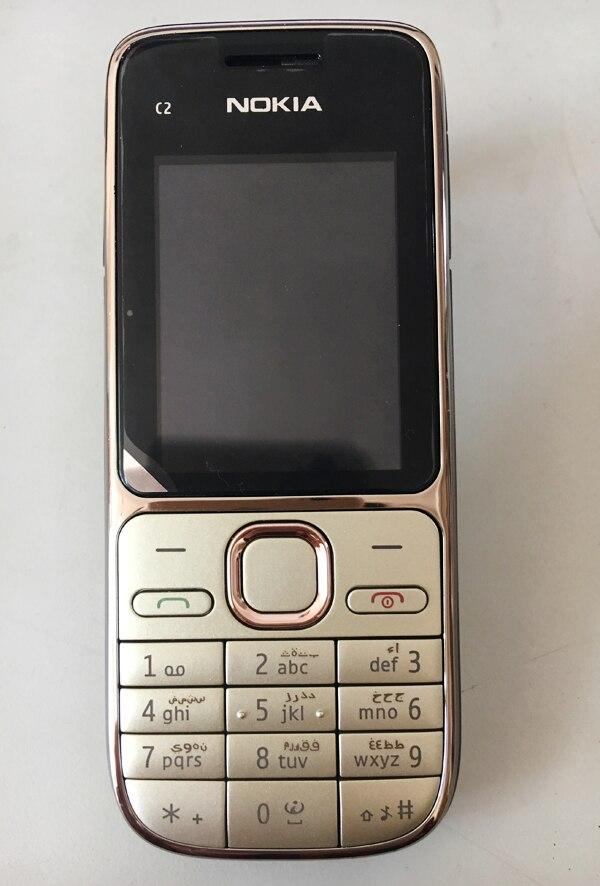 Nokia C2 C2-01 разблокированный мобильный телефон восстановленные мобильные телефоны и Иврит Русский Арабский Клавиатура - Цвет: Gold Arabic Keybad