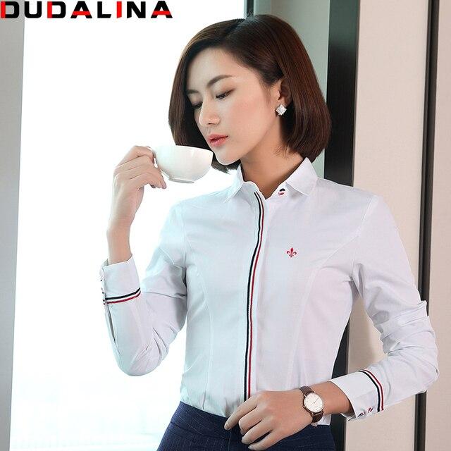 2662114970 Blusas Femininas Camisas Dudalina 2017 Camisa Branca Com Listrado Vermelho  Camisa de Manga Longa Roupas Femininas