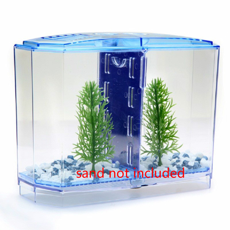 2 Size Acrylic Mini Aquarium Betta Fish Tank Aquarium Incubator Isolation Hatchery Mini Fish Bowl Reptile Cage Turtle House