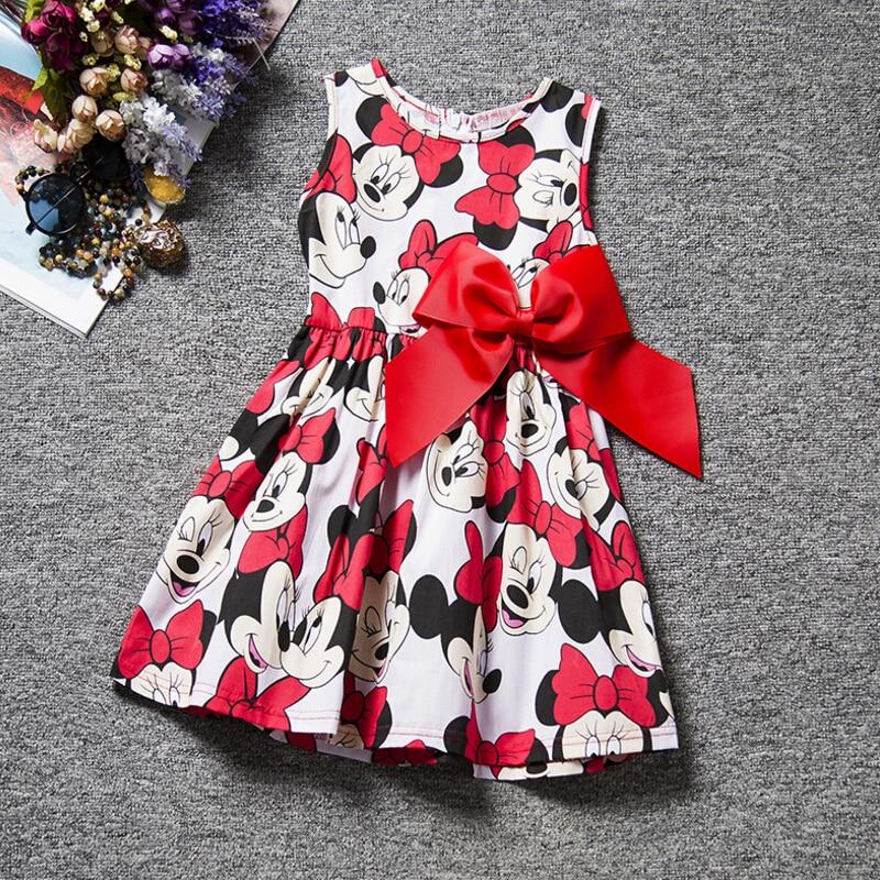 532 20 De Descuentoprincesa Bebé Niña Vestido Minnie Mouse Vestido Estampado Punto Sin Mangas Vestido De Fiesta Niña Ropa Moda Niños Traje De