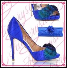 Aidocrystal Italienischen design mit African schuhe und taschen zu spiel hochzeitskleid Blaue farbe schuhe, die beutel-set
