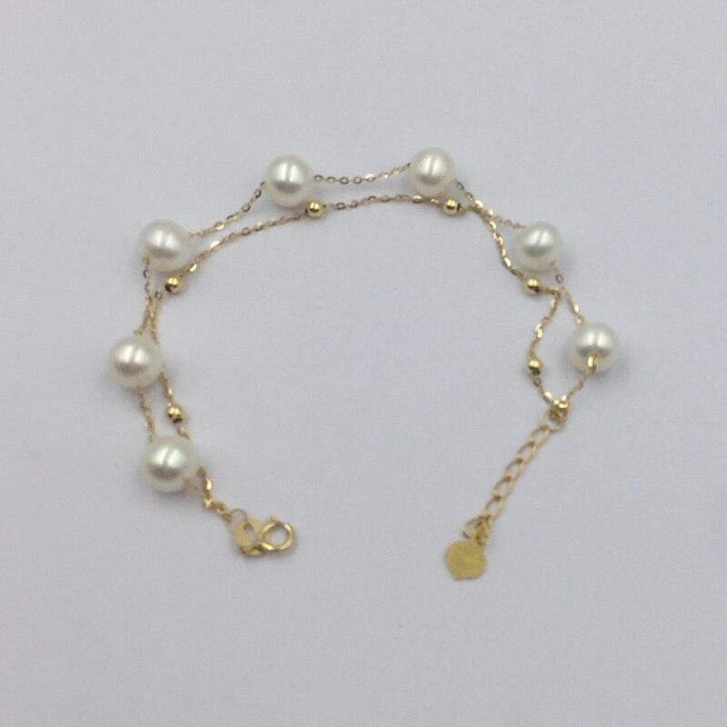 Sinya 18 Karat Gold Kette Armbänder Strang Natürliche Perlen Gold Perlen Für Frauen Mädchen Mom Liebhaber Länge 16 + 2 Cm Können Einstellbar Heißer Verkauf