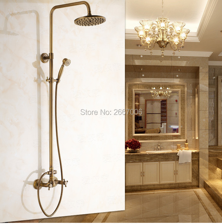 Free shipping Luxury Best Gift Bath Waterfall Shower Set Bathroom Antique Brass Color Faucet With Rainfall Shower Head Set ZR029