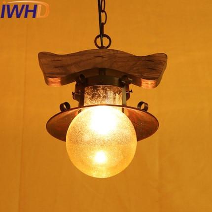 IWHD Enkele Hoofd Hout Vintage Lamp Loft Industria Hanger ...