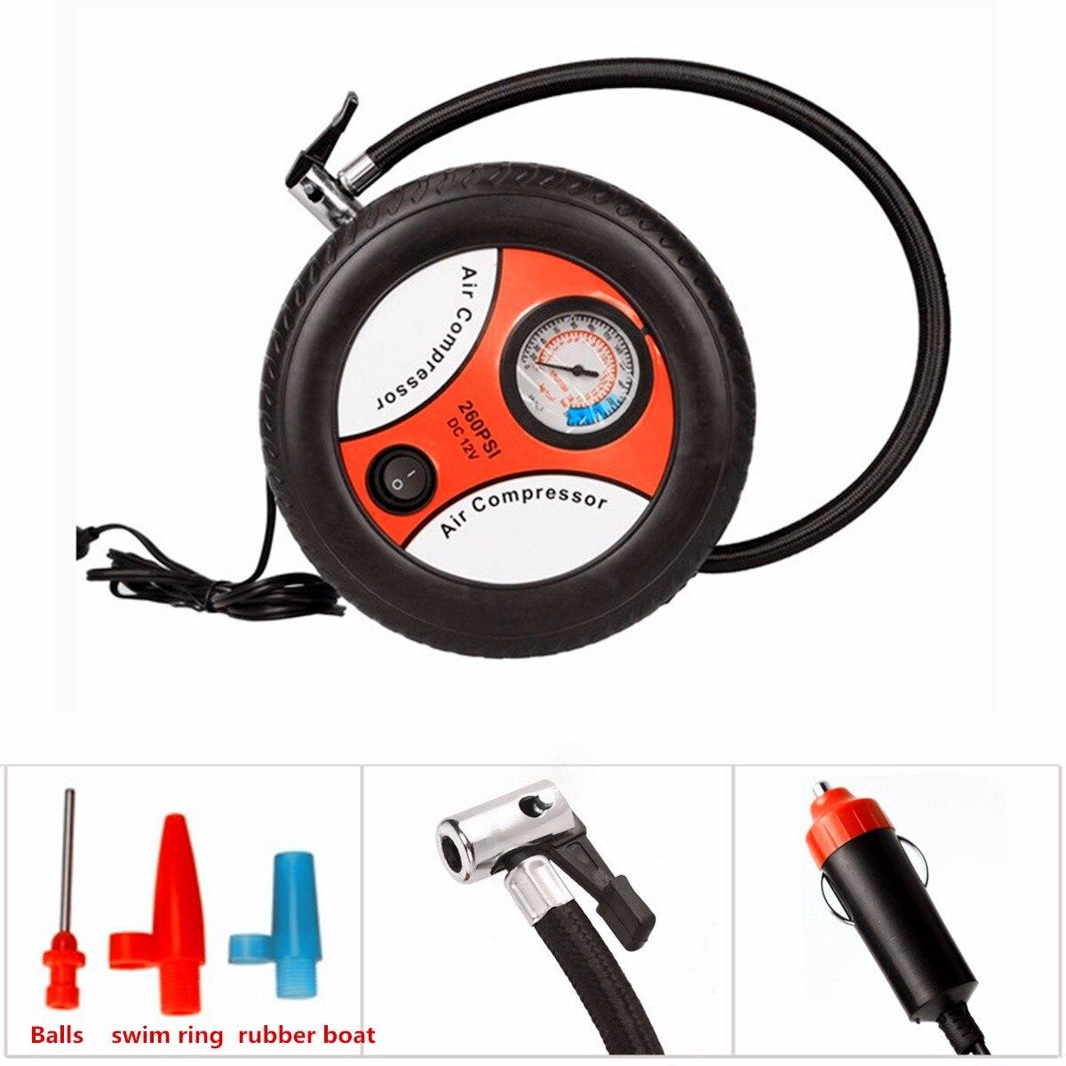 Car Mini Inflatable Pump 260PSI DC12V Metal Plastic Electric Air Compressor Monitor Pump with 3 Nozzle Adapters