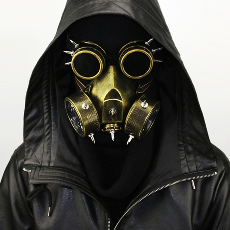 Fashion Pu Leather Inside Breathable Double Net Cool Men Masks Steampunk Classic Black Gas Mask Gothic Cosplay Punk Rave S-270 Costumes & Accessories