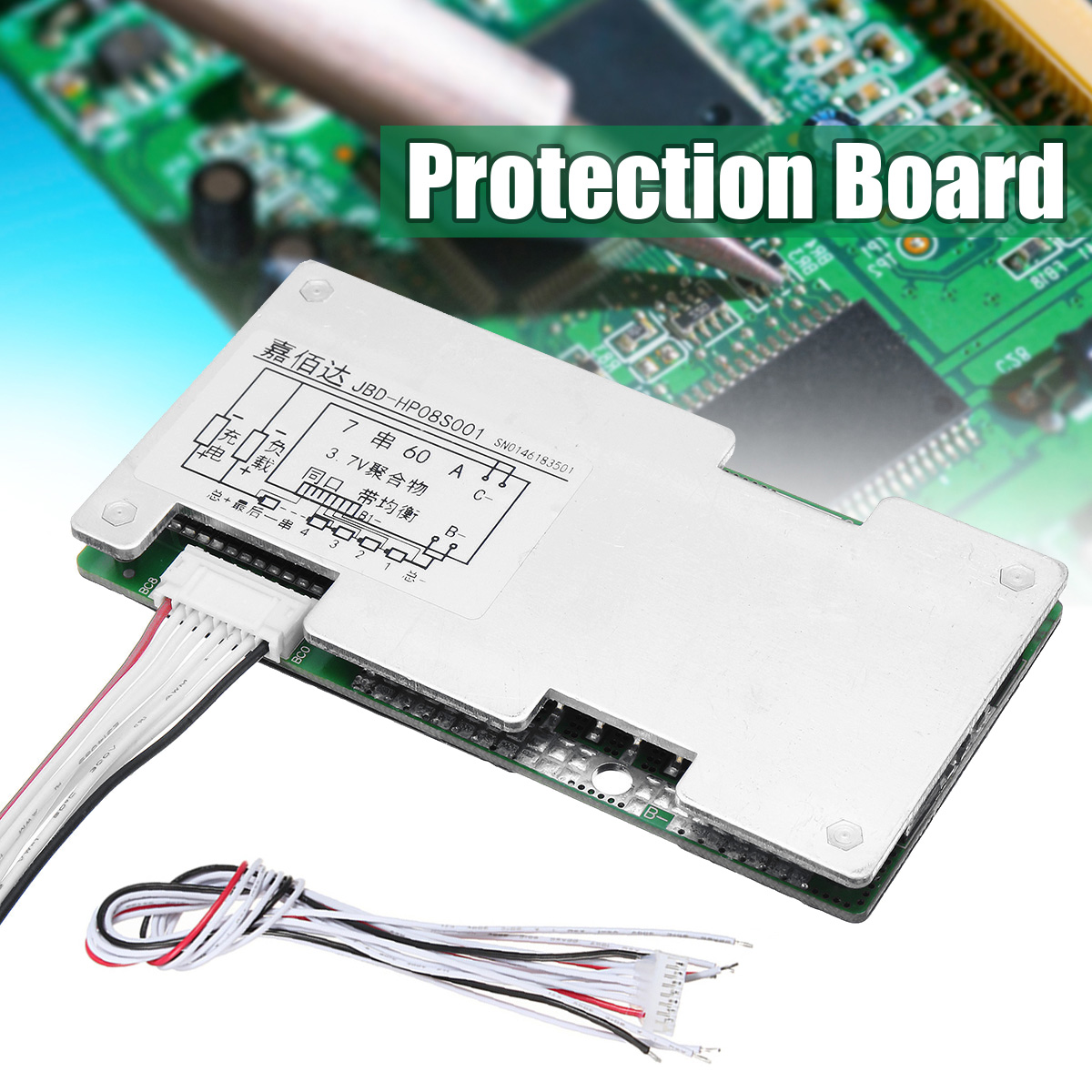Hot Sale 7s 24v Li ion Lithium Cell 60A 18650 Battery Protection Board with Balance 110x55x9mm
