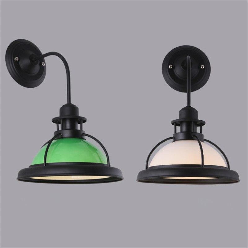 American style Retro Green/White lampshade Wall Lamp Nordic Bar Corridor Restaurant Hotel Decorative Light Glass Wall Lamp