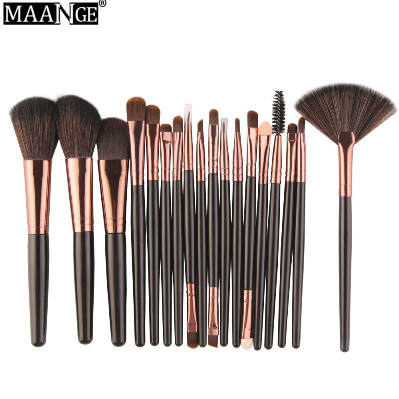 MAANGE Professional 18 Pcs Makeup Brushes Set Comestic Powder Foundation Blush Eyeshadow Eyeliner Lip Beauty Make up Brush Tools 24pcs makeup brushes set cosmetic make up tools set fan foundation powder brush eyeliner brushes leather case with pink puff