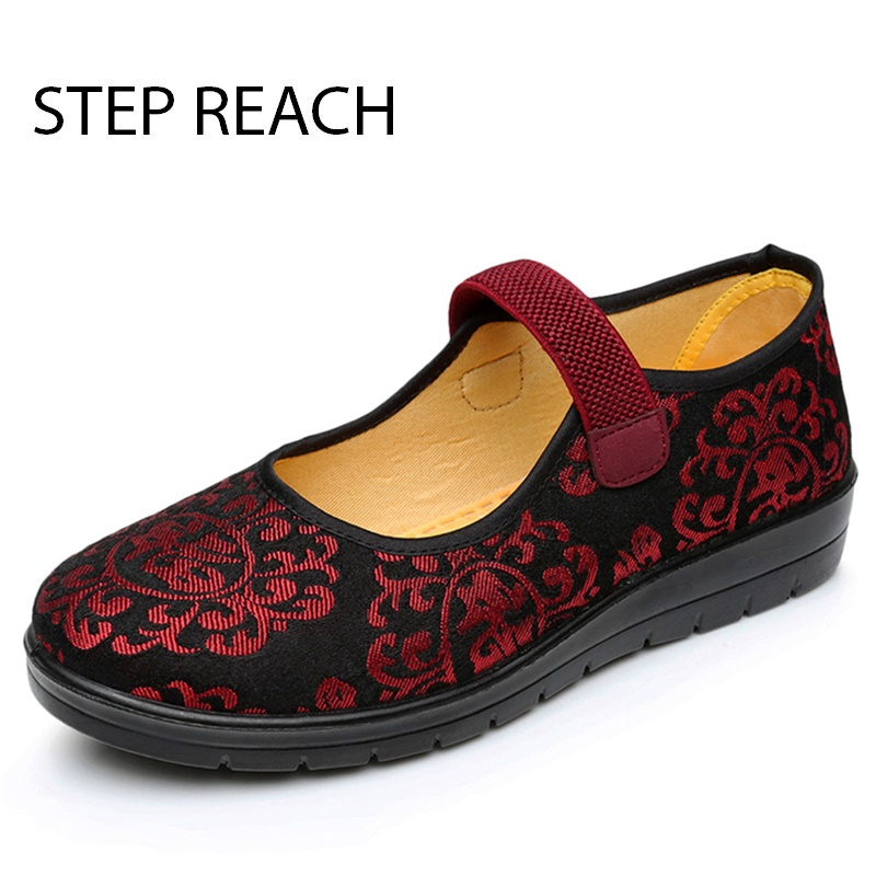 STEPREACH Brand shoes woman flat canvas casual women shoes all match fashion Breathable Chinese Flower Embroidery zapatos mujer chinese women flats shoes flowers casual embroidery soft sole cloth dance ballet flat shoes woman breathable zapatos mujer