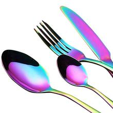1PCS Rainbow Tableware Stainless Steel Colorful Cutlery Knife Fork Scoops Dinner Set Home Party Kitchen Accessories LQC2813