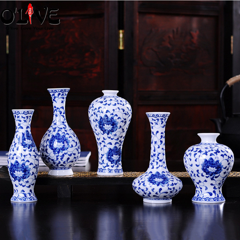 Mini Ceramic Decorative Vases Chinese Antique Blue And