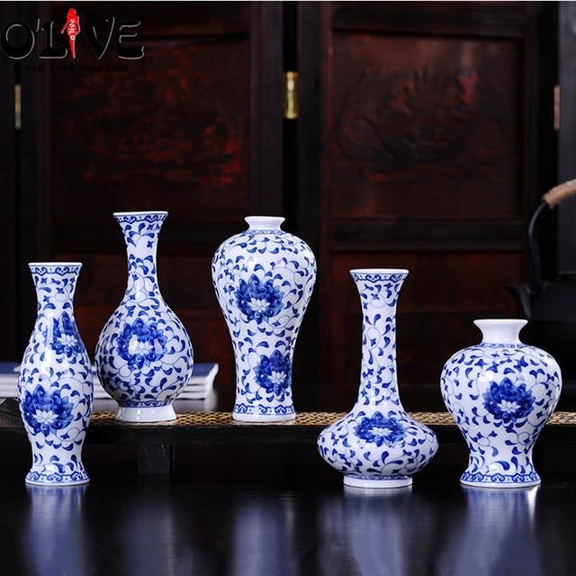 Mini Ceramic Decorative Vases Chinese Antique Blue And White Flower