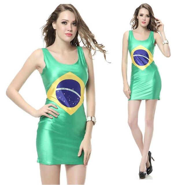 a60588c6f 2015 verano mujeres vestido Brasil bandera para las mujeres chica señora  Vestidos mujer ropa