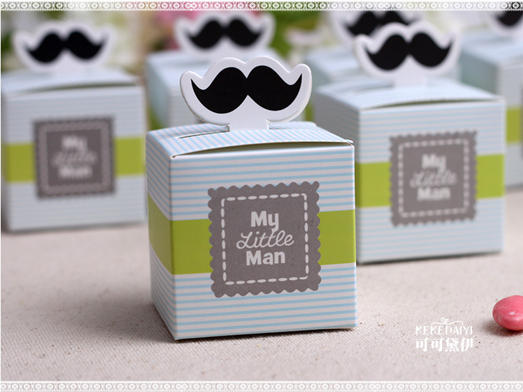 Online Shop 1000 Pcs My Little Man Cute Mustache Birthday Candy Box Boy Baby Shower Favor Boxes Wedding Souvenirs Favors And Gifts