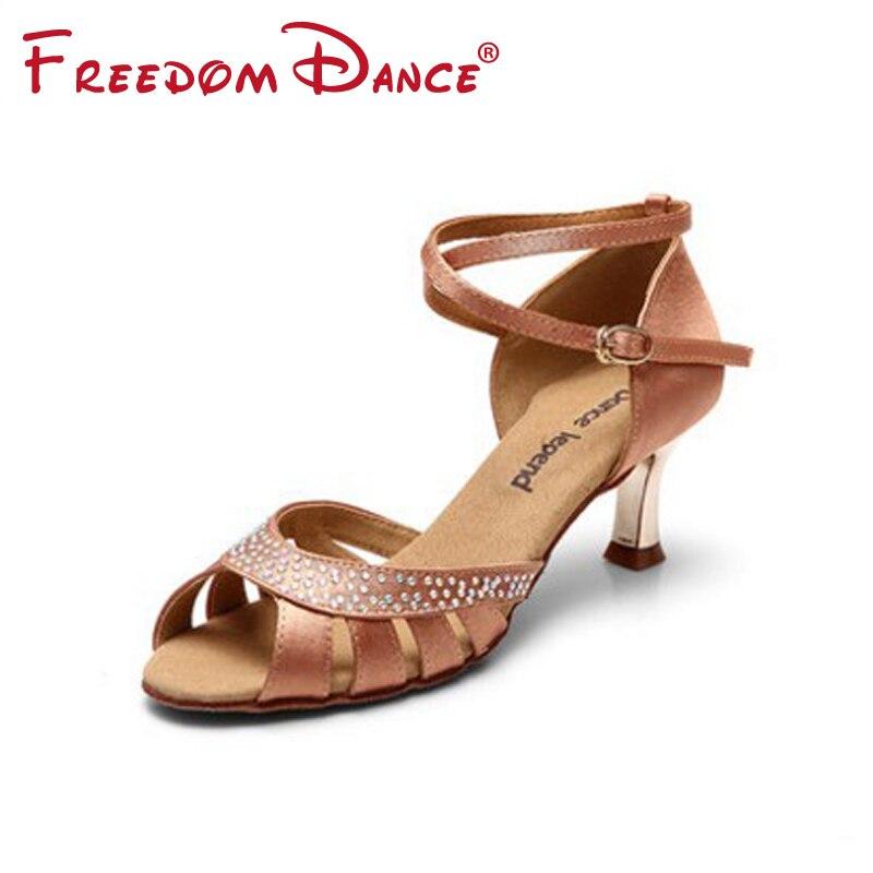 ФОТО 5.5cm Heel Latin Dance Shoes For Women Rhinestones Decorated  Metal Heel Satin Upper Girls Dancesport Shoe Salsa Tango Sandals