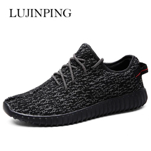 New Fashion Men's Recreational Shoes Men Breathable Mesh Fabric Sport Casual Shoes Popular Lace-Up Flat Men's Leisure Shoes