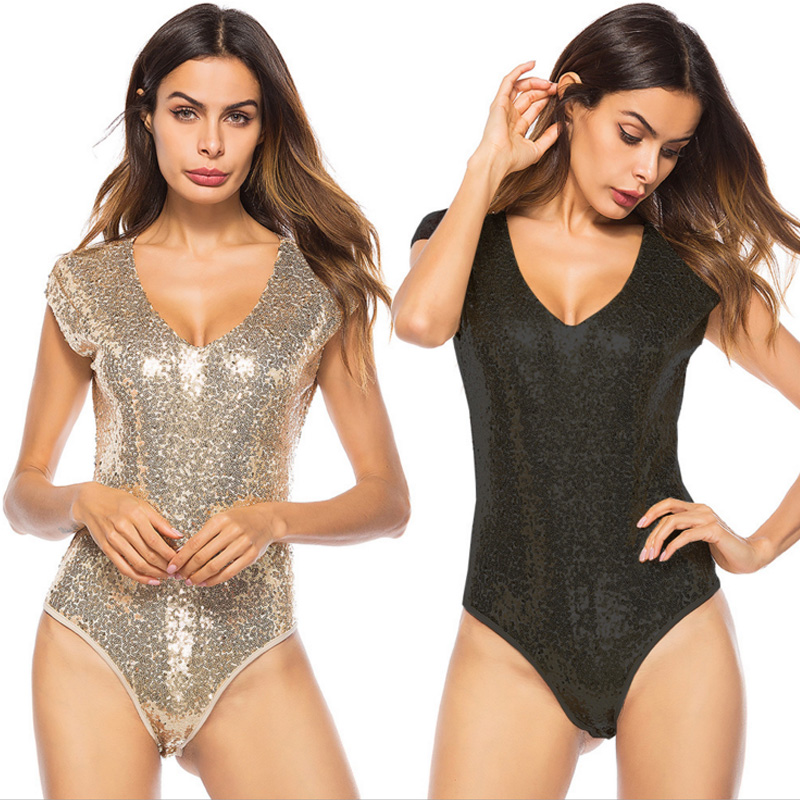 2020 Woman Bodysuits <font><b>Sexy</b></font> V-neck Gold black Sequin Black body Top Macacao Body Feminino bodycon Jumpsuit <font><b>Combinaison</b></font> <font><b>Short</b></font> <font><b>Femme</b></font> image
