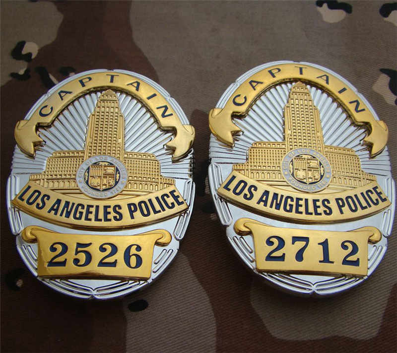 United States LA Los Angeles Police Officer Badges LAPD CAPTAIN Shirt Lapel  Badge Brooch Pin Insignia Badge 1:1 Gift Cosplay