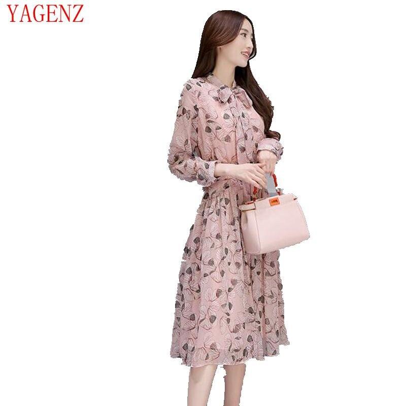 2017 Alto Color Ok171 Manica Stile Sudcoreano Donne Di Della Chiffon Dress Picture Lunga Lusso Elegante Bowknot Slim Vita Rosa È Primavera vfUdqwxRv