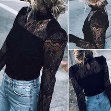 Lanxirui Brand Sexy Women Long Sleeve Lace Shirt Casual Blouse Mesh Sheer Tops For