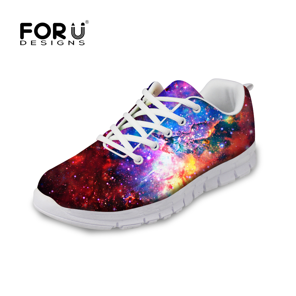 ФОТО FORUDESIGNS 3D Galaxy Space Star Pattern Women Casual Shoes Fashion Breathable Flats Leisure Walking Shoes For Ladies Student
