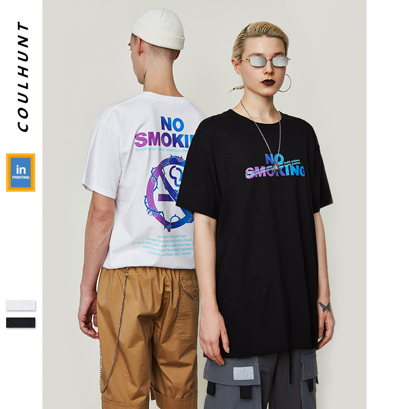 No Smoking Logo Summer Skateboard Wear Couple T Shirt 2019 New Love Your Life Short Sleeve Tees Summer 100% Cotton T-shirt
