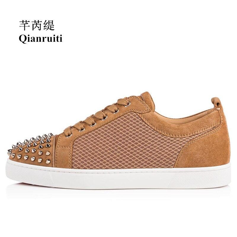 Qianruiti 2019 printemps mâle respirant Rivet chaussures Spike mode baskets bout rond à lacets hommes piste tendance chaussures décontractées