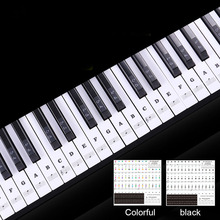 Piano Keyboard PVC Sticker Stave Note Biginners Music Decal 54 61 88 Keys Piano Sticker Removable Label Electronic Key Sticker