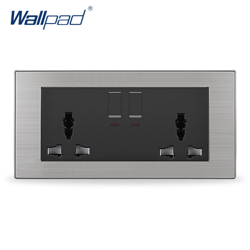 2019 Hot Sale 2 Gang 6 Pin Universal Socket Wallpad Luxury LED Wall Light Switches and Sockets UK 13A AC 110~250V2019 Hot Sale 2 Gang 6 Pin Universal Socket Wallpad Luxury LED Wall Light Switches and Sockets UK 13A AC 110~250V