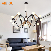 AIBIOU Originality LED Chandelier For Living Room Modern Wooden Chandeliers Adjustable Hanging Dining Lighting Fixtures