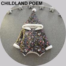 Autumn Children Clothing baby girls clothes Christmas Jackets Hooded Cotton Baby Print Outerwear Newborn Baby Girls
