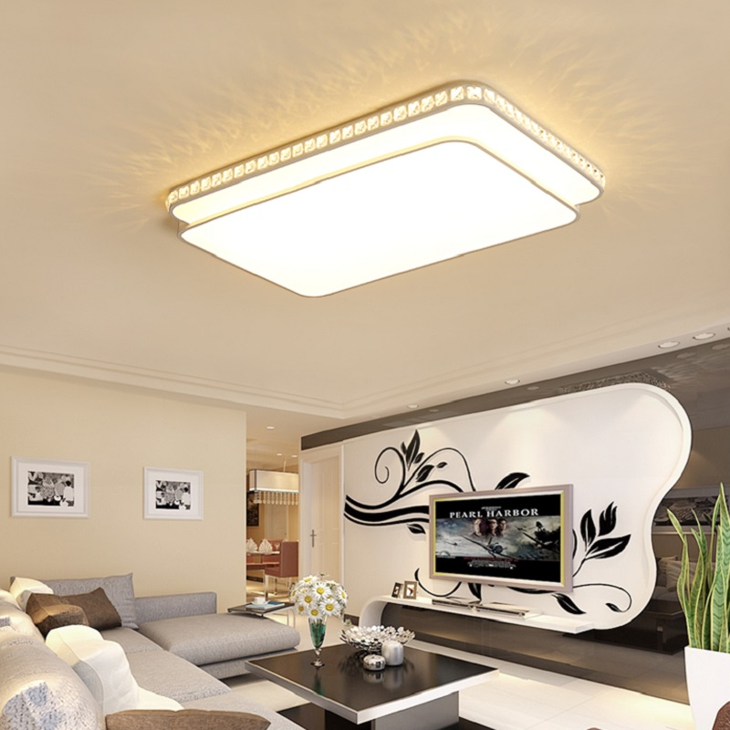 Ultra-thin LED Ceiling Chandelier Lihgting minimalism surface mounted crystal embellishment modern Chandeliers lustre luminaria
