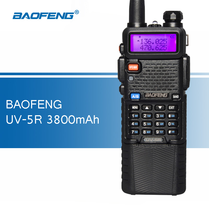 bilder für Baofeng uv-5r 3800 mah 5 watt walkie talkies uv5r tragbare zweiwegradio uv 5r Schinken CB Radio Dual Band UHF 400-520 MHz VHF 136-174 MHz