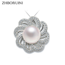 ZHBORUINI 2019 New Pearl Necklace 925 Sterling Silver Jewelry For Women Natural Freshwater Pearl Jewelry Flower Pendant Gift