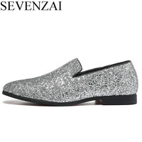 Designer Shoes Men Silver Gold Spiked Loafers Male Rhinestone Luxury Brand Dressing Moccasins Studded Cool Flats
