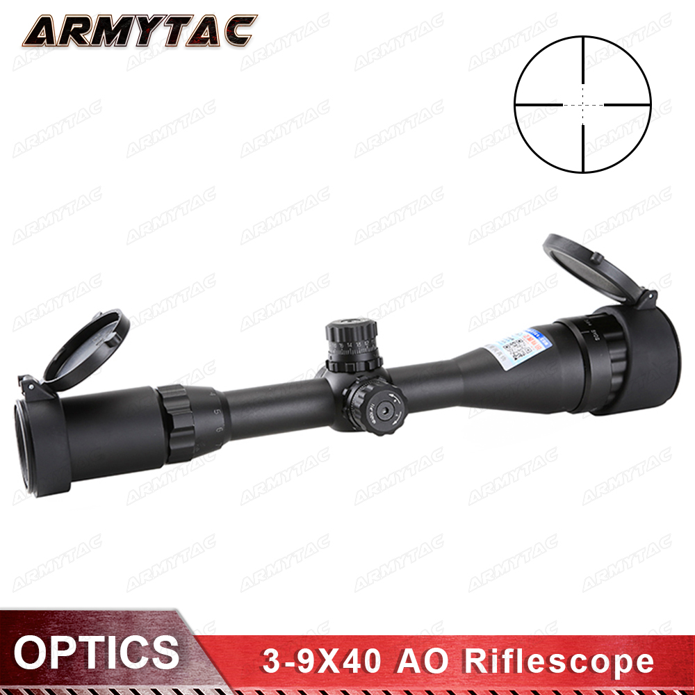ArmyTac Tactical 3-9X40 AO Riflescope Optical Sight Mil-dot Locking Resetting Hunting Rifle Scope zos 3 12x40 ao mil dot reticle riflescope classic tactical weapon optical sight for hunting rifle scope with lens cover