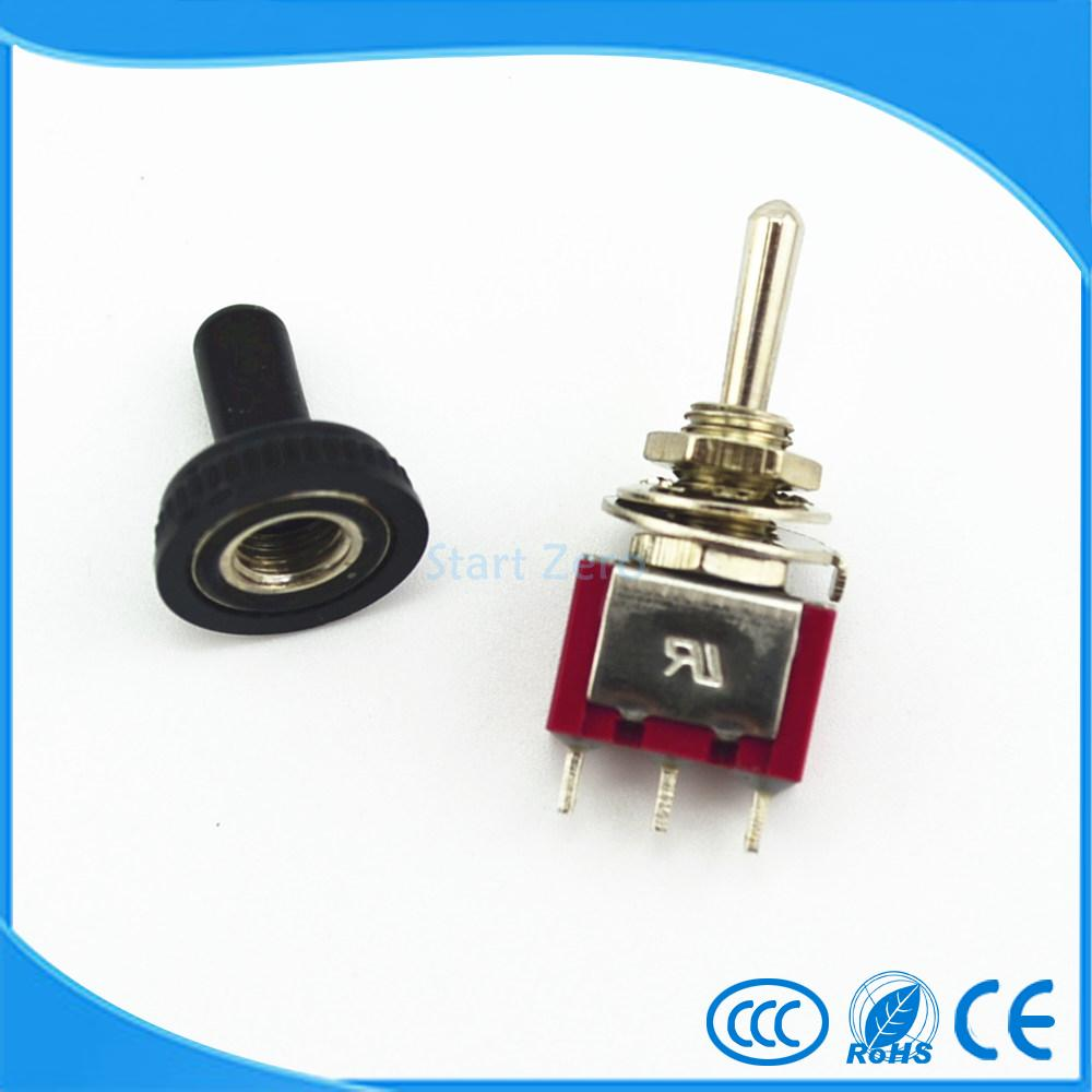 5 Pcs Momentary Toggle Switch (ON)-OFF-(ON) 3 Position SPDT w Cover Cap цена