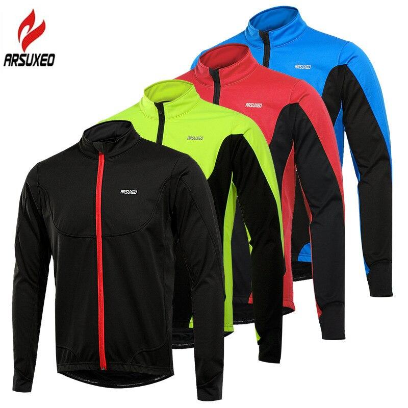 ARSUXEO Men's Cycling Jacket Long Sleeve Waterproof Winter Bike Coat Warm Up Thermal Fleece Windproof Bicycle MTB Clothing