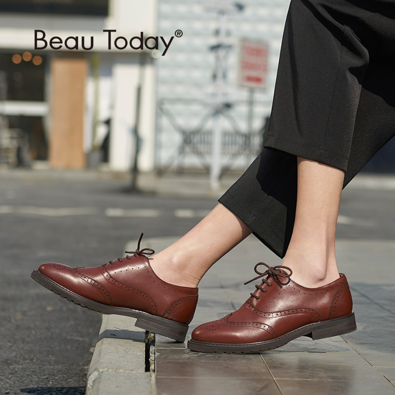 BeauToday Oxfords Women Quality Genuine Leather Lace Up Brogue Shoes Brand Calfskin Wingtip Ladies Flats Plus