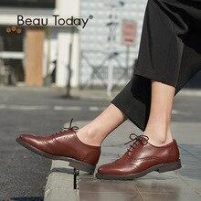 Beau Genuine Leather Women Brogue 2017 Fashion Spring Autumn Round Toe Brush Oxford ladies Shoes 21069